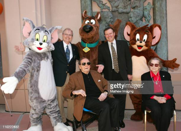 John Shaffner cochair of the Television Academy of Arts and Sciences Sander Schwartz president of Warner Bros Animation Joseph Barbera and Violet...