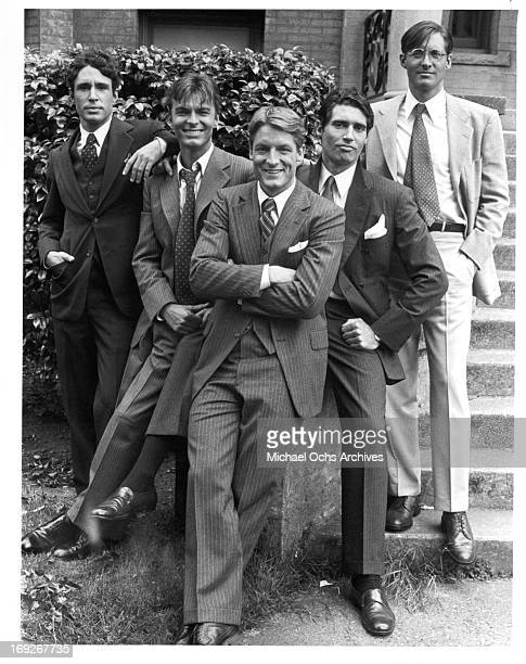 John Shea Edward Albert Perry King Michael Nouri and Bruce Boxleitner gather in front of the 'F Entry' entrance to their dormitory in publicity...