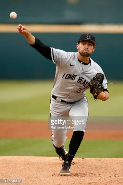 John Sheaks of Long Beach State throws a pitch during a baseball game against UCLA at Jackie Robinson Stadium on May 07 2019 in Los Angeles California