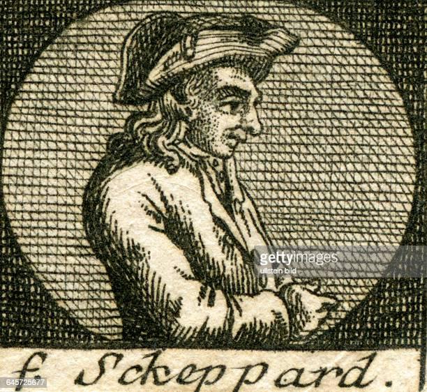 John Shepherd , , Porträt , geboren 1702 in London , gestorben 1724 ebenfalls in London , Räuber , Anfang des 18. Jahrhunderts , Kupferstich aus :...