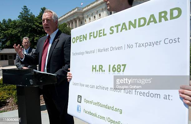 John Shimkus RIll during a news conference to kick off efforts in support of HR1687 the Open Fuel Standard Act which would require that 50 percent of...