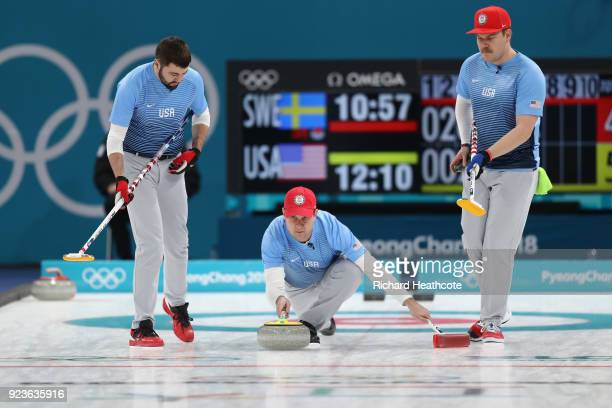 John Shuster of the United States delivers a stone against Sweden during the Curling Men's Gold Medal game on day fifteen of the PyeongChang 2018...
