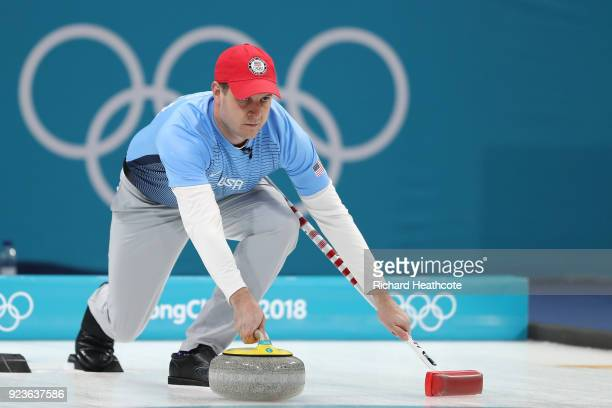 John Shuster of the United States delivers a stone during the game against Sweden during the Curling Men's Gold Medal game on day fifteen of the...