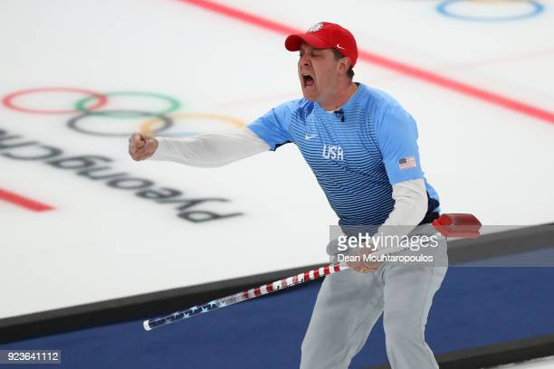 John Shuster of the United States reacts during the game against Sweden during the Curling Men's Gold Medal game on day fifteen of the PyeongChang...