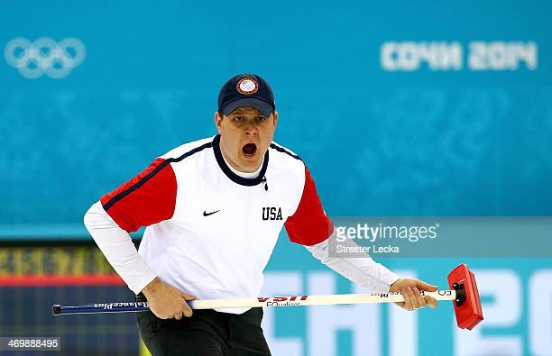 John Shuster of the USA competes against Switzerland during the Men's Curling Round Robin on day ten of the Sochi 2014 Winter Olympics at Ice Cube...