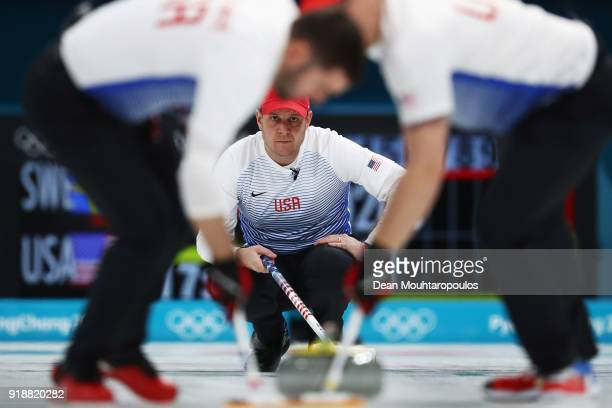 John Shuster of the USA competes in the Curling Men's Round Robin Session 4 held at Gangneung Curling Centre on February 16 2018 in Gangneung South...
