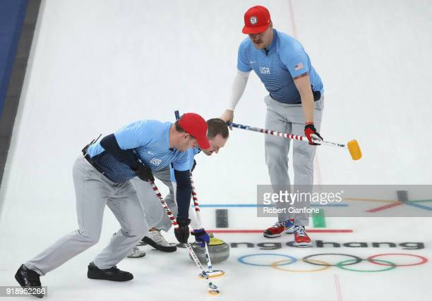John Shuster Tyler George and Matt Hamilton of the United States compete in the Curling Men's Round Robin Session 5 held at Gangneung Curling Centre...