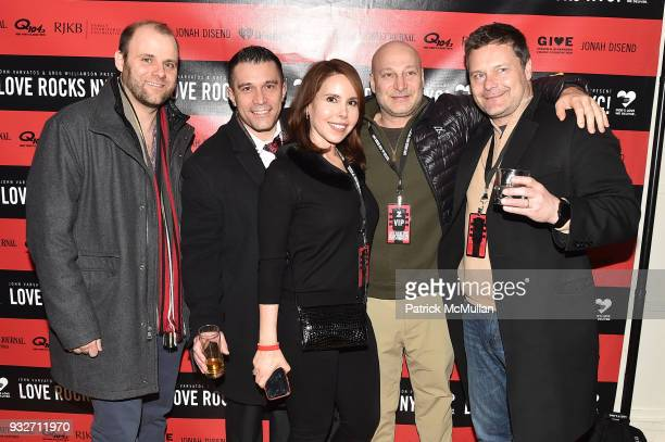 John Sikorski, Joe Cerabona, Linda Markus, Jacob Gottlieb and Justin Markus attend the Love Rocks NYC Pre-Concert Cocktail at CESCA Restaurant on...