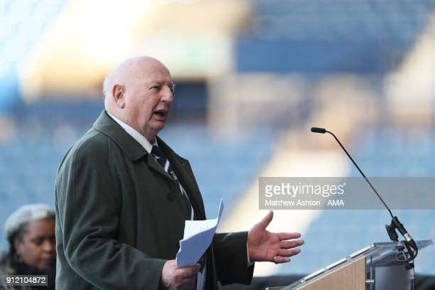 John Sillett former Coventry City manager and FA cup winner talks during the Cyrille Regis Memorial Service at The Hawthorns on January 30 2018 in...