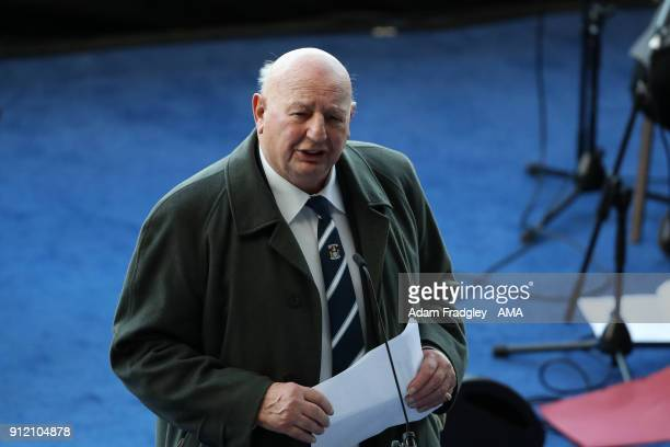 John Sillett former Coventry City manager and FA cup winner talks during the Cyrille Regis Memorial Service at The Hawthorns at The Hawthorns on...