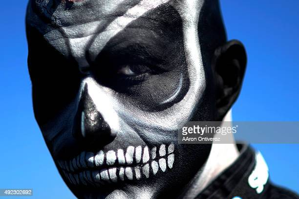 John Silva rocks his El Cucuy look in the parking lot before the first half of action at the Oco Coliseum The Oakland Raiders hosted the Denver...