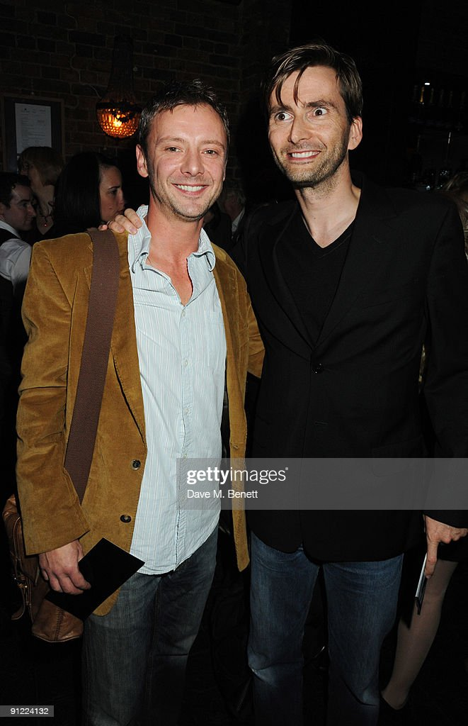 John Simm and David Tennant attend the afterparty following the press night of 'Speaking In Tongues', at the Jewell Bar on September 28, 2009 in London, England.