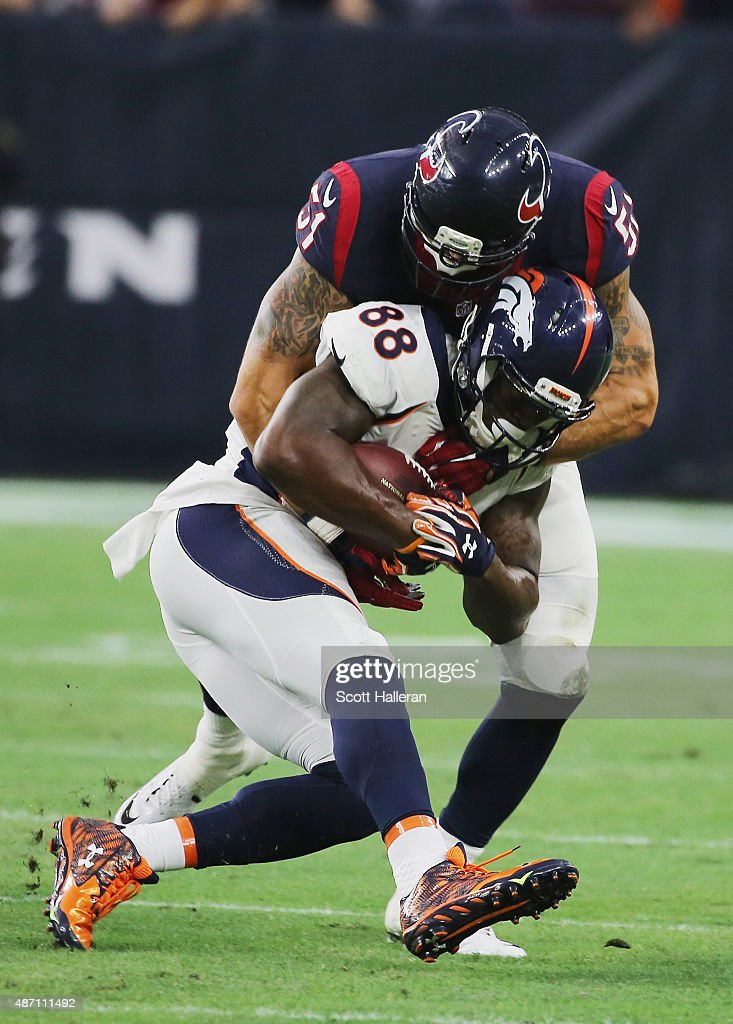 John Simon #51 of the Houston Texans wraps up Demaryius Thomas #88 of the Denver Broncos in the first half of their game at NRG Stadium on August 22, 2015 in Houston, Texas.
