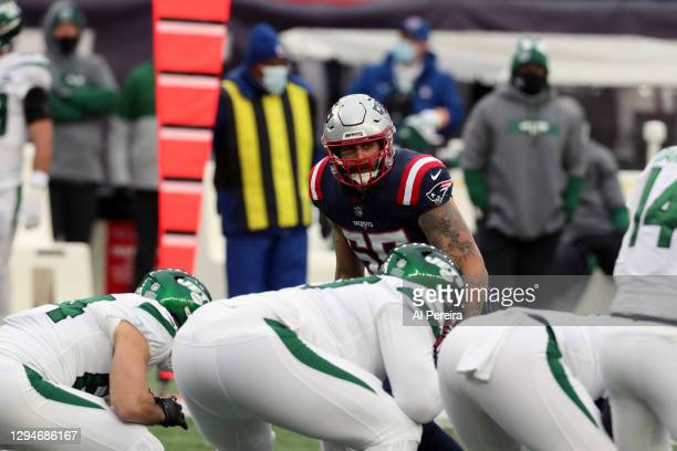 John Simon of the New England Patriots directs the coverage against the New York Jets at Gillette Stadium on January 3, 2021 in Foxborough,...