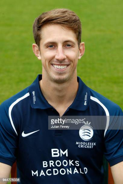 John Simpson of Middlesex poses for a photo during Middlesex CCC Photocall at Lord's Cricket Ground on April 11 2018 in London England