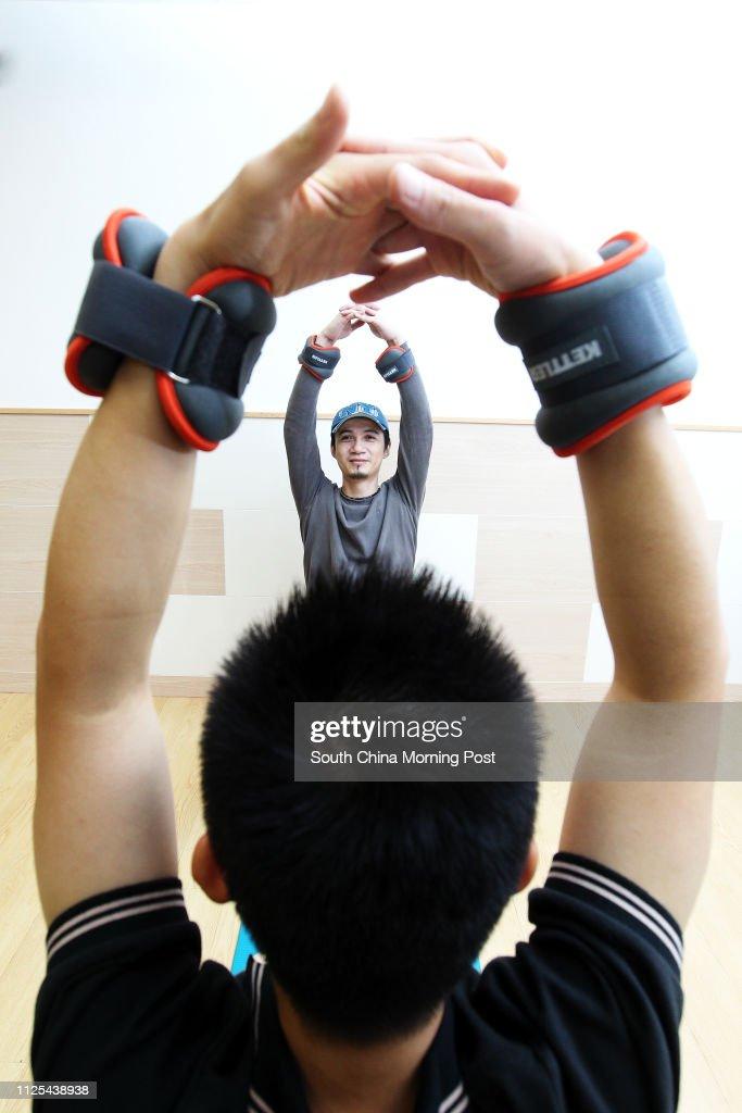 John Sin Man-wai, 40 yrs-old, who's a sufferer of ankylosing spondylitis, a form of arthritis. 14NOV12 : News Photo