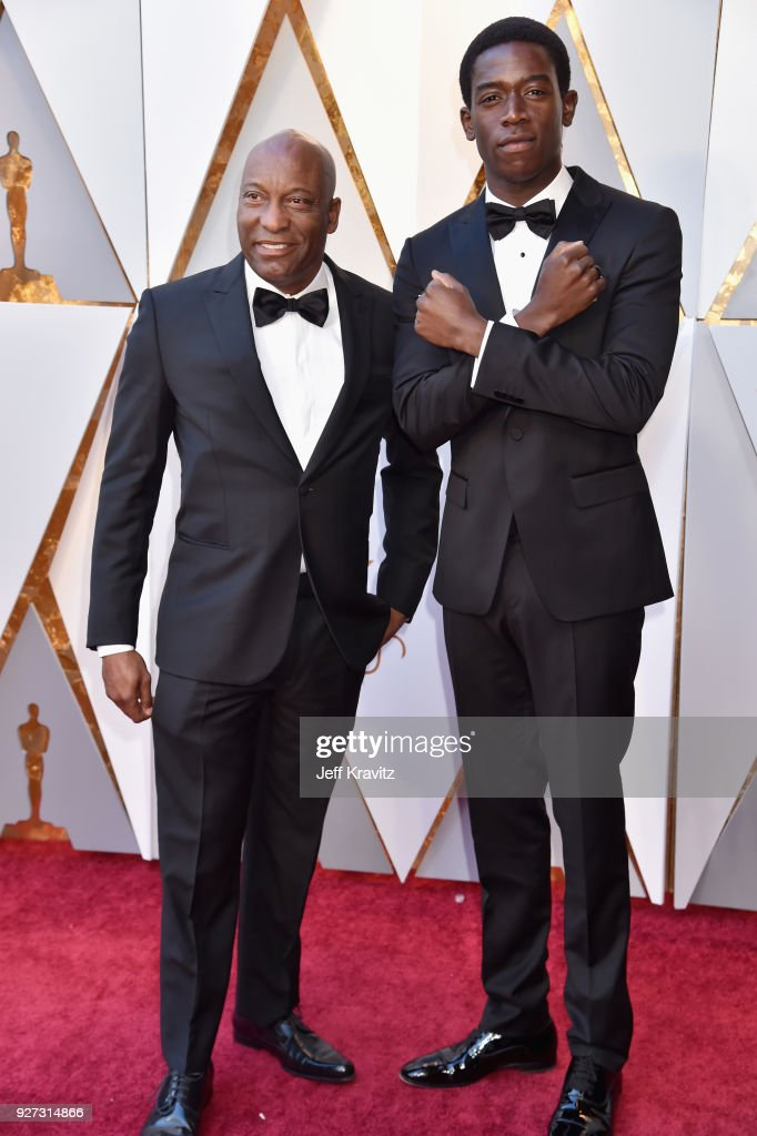 John Singleton (L) and Damson Idris attend the 90th Annual Academy Awards at Hollywood & Highland Center on March 4, 2018 in Hollywood, California.