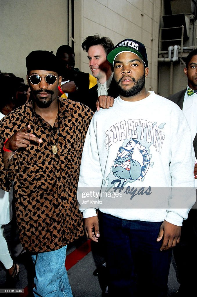 John Singleton and Ice Cube during 1992 MTV Movie Awards at Culver Studios in Culver City, California, United States.