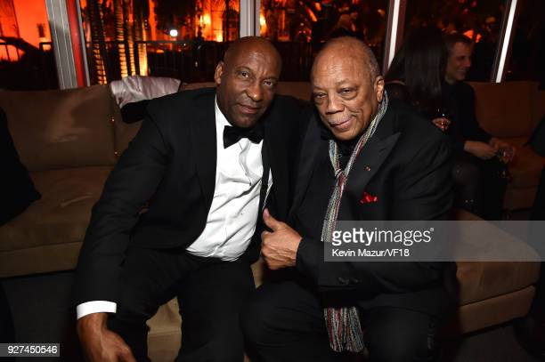 John Singleton and Quincy Jones attend the 2018 Vanity Fair Oscar Party hosted by Radhika Jones at Wallis Annenberg Center for the Performing Arts on...
