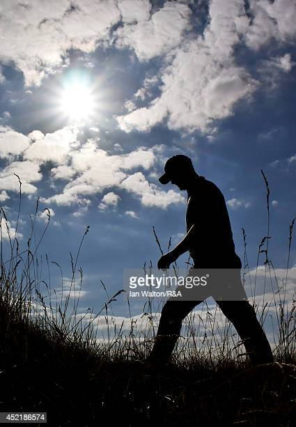 John Singleton of England walks to the 12th tee during a practice round prior to the start of The 143rd Open Championship at Royal Liverpool on July...