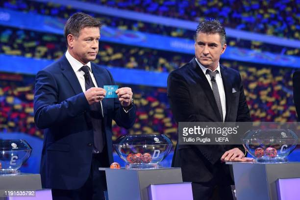 John Sivebaek and Theodoros Zagorakis attend the UEFA Euro 2020 Final Draw Ceremony on November 30 2019 in Bucharest Romania