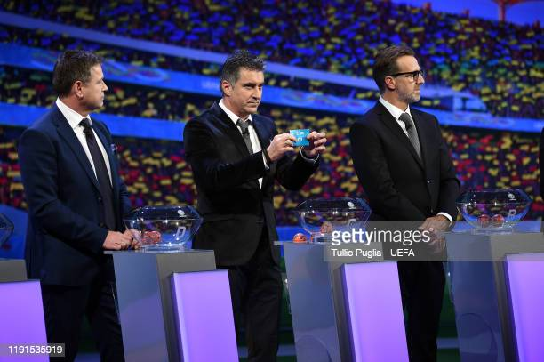 John Sivebaek Theodoros Zagorakis and Karel Poborsky attend the UEFA Euro 2020 Final Draw Ceremony on November 30 2019 in Bucharest Romania