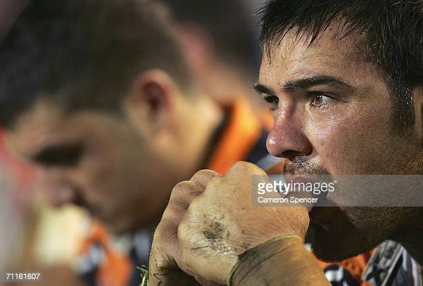 John Skandalis of the Tigers looks dejected during the round 14 NRL match between the Manly Warringah Sea Eagles and the Wests Tigers at Brookvale...