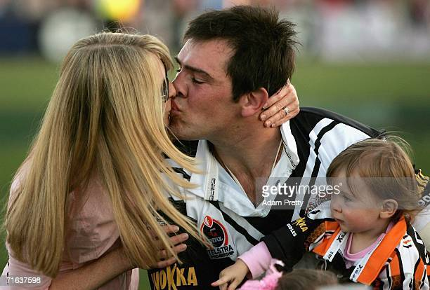 John Skandalis of the Wests Tigers has kiss after the round 23 NRL match between the Wests Tigers and the Canberra Raiders at Campbelltown Sports...