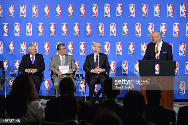 John Skipper, ESPN President and Disney Media Networks Co-Chairman speaks at a press conference with Adam Silver, NBA Commissioner, Ted Leonsis,...