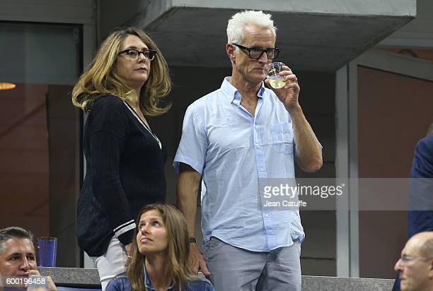 John Slattery and his wife Talia Balsam attend day 10 of the 2016 US Open at USTA Billie Jean King National Tennis Center on September 7 2016 in the...