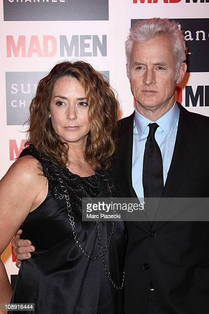 John Slattery and his wife Talia Balsam attend the 'Mad Men' photocall at Hotel Royal Monceau Raffle on February 8 2011 in Paris France