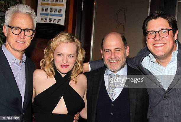 """John Slattery, Elisabeth Moss, Matthew Weiner, Rich Sommer and Rich Sommer pose at """"The Heidi Chronicles"""" Broadway Opening Night Party at Redeye..."""