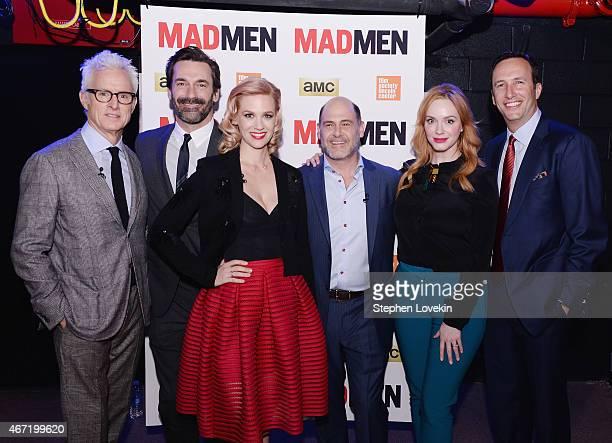 John Slattery Jon Hamm January Jones creator Matthew Weiner Christina Hendricks and AMC president Charles Collier attend the 'Mad Men' special...