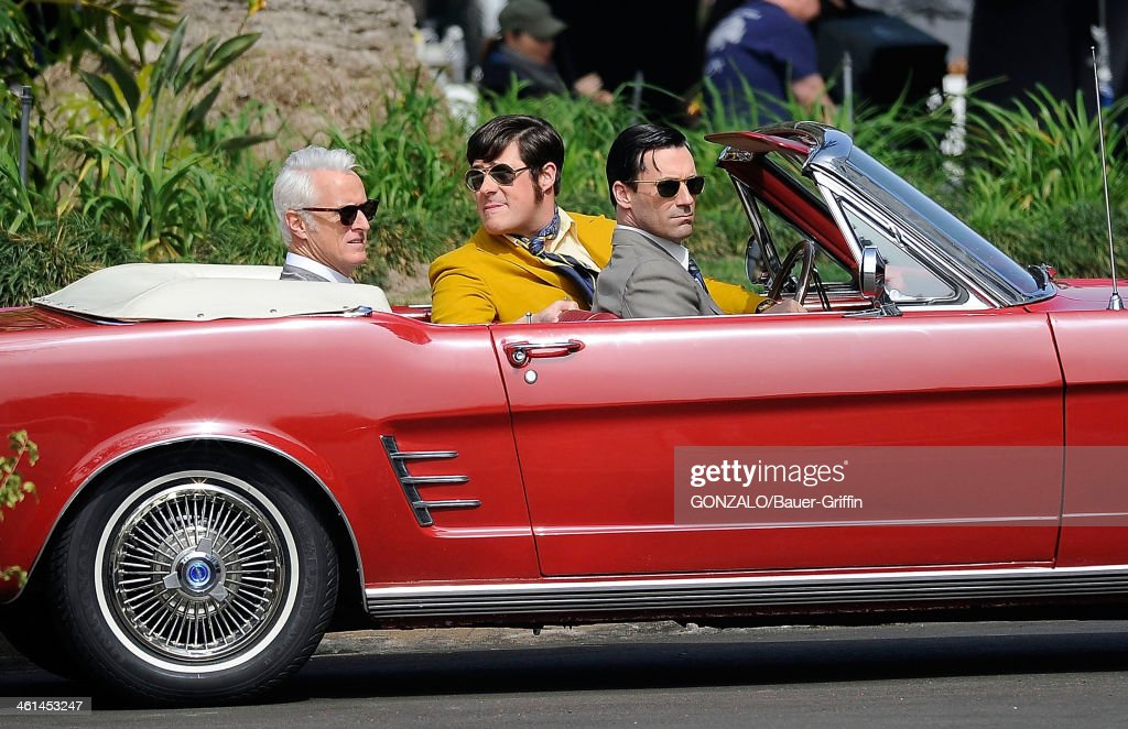John Slattery, Rich Sommer and Jon Hamm are seen filming 'Mad Men' on March 05, 2013 in Los Angeles, California.