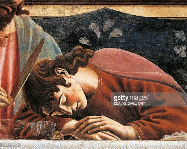 John sleeping detail from the Last Supper fresco by Andrea del Castagno in the refectory Convent of Sant'Apollonia Florence Italy 15th century...