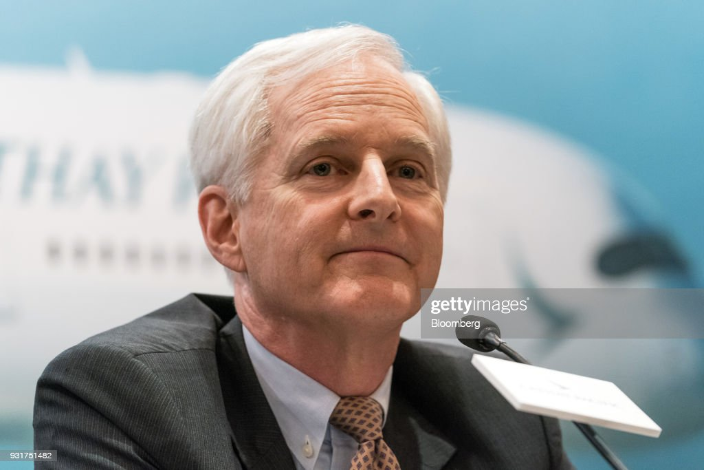 John Slosar, chairman of Cathay Pacific Airways Ltd., attends a news conference in Hong Kong, China, on Wednesday, March 14, 2018. Asias biggest international carrier reported a surprise profit in the second half of 2017, with a pick-up in cargo and premium-travel demand helping narrow the full-yearnet lossto HK$1.26 billion ($161 million).Photographer: Anthony Kwan/Bloomberg via Getty Images