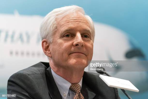 John Slosar chairman of Cathay Pacific Airways Ltd attends a news conference in Hong Kong China on Wednesday March 14 2018 Asias biggest...