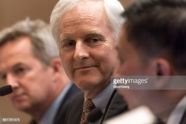 John Slosar chairman of Cathay Pacific Airways Ltd center attends a news conference in Hong Kong China on Wednesday March 14 2018 Asias biggest...