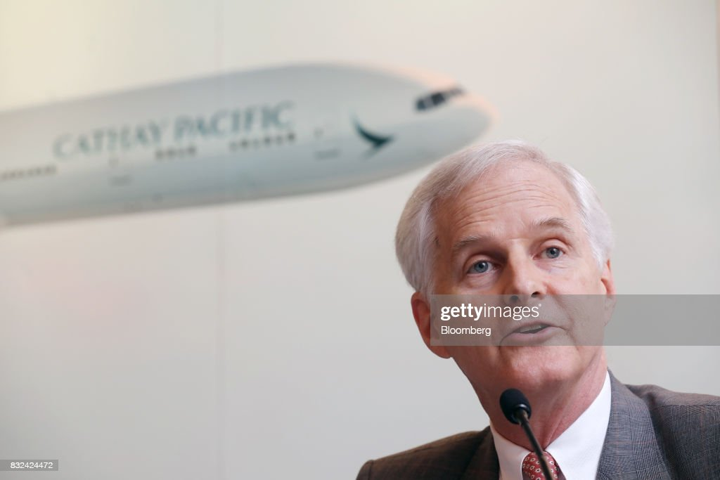 John Slosar, chairman of Cathay Pacific Airways Ltd., speaks during a news conference in Hong Kong, China, on Wednesday, Aug. 16, 2017. Cathay Pacific is slipping in its efforts to get passengers to pay more for its premium services in a test for new Chief Executive OfficerRupert Hoggas the company reported back-to-back losses. Photographer: Paul Yeung/Bloomberg via Getty Images