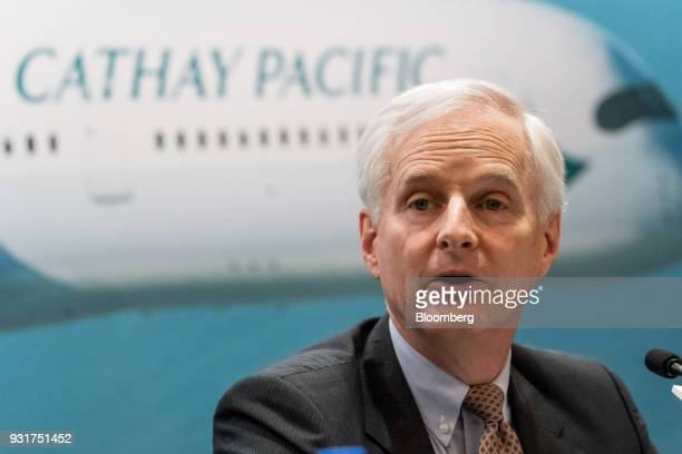 John Slosar chairman of Cathay Pacific Airways Ltd speaks during a news conference in Hong Kong China on Wednesday March 14 2018 Asias biggest...
