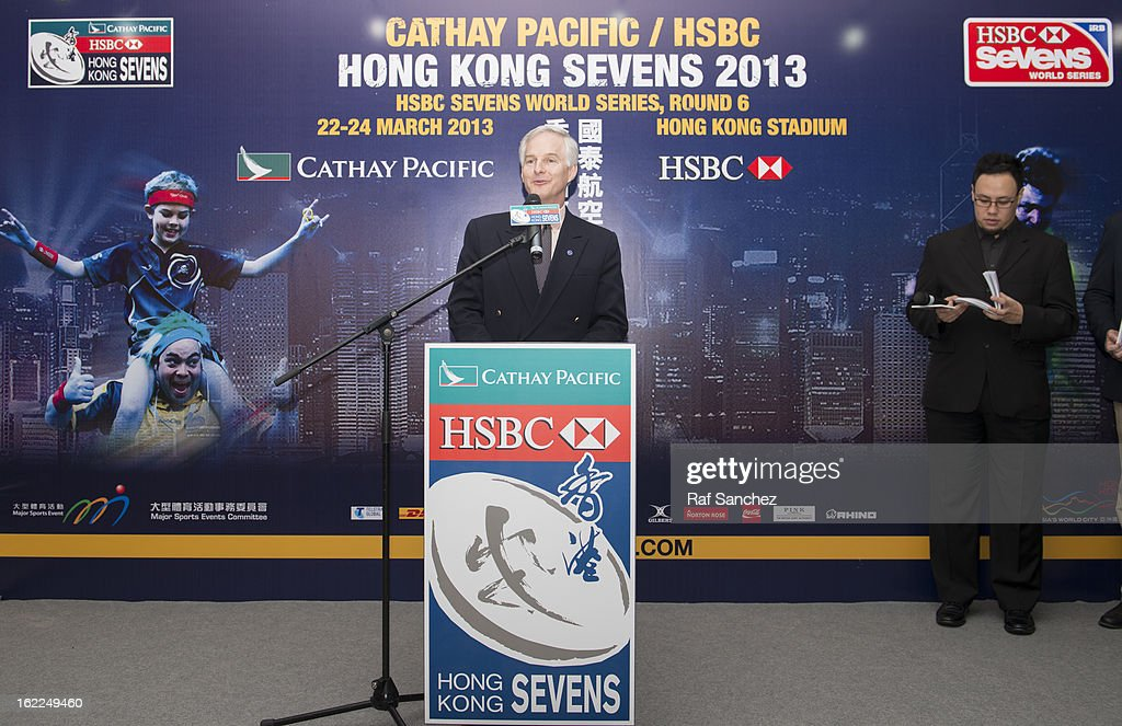John Slosar, Chief Executive of Cathay Pacific Airways, speaks during the Cathay Pacific/HSBC Hong Kong Sevens 2013 Official Draw held at Hysan Place, on February 21, 2013 in Hong Kong.