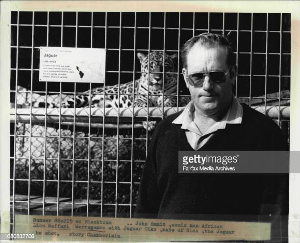 John Smhit assis man African Lion Saffari Warragamba with Jaguar Ciko mate of Nina the Jaguar he shot February 15 1988