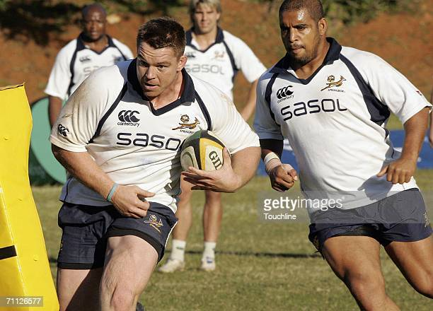 John Smit and Eddie Andrews of South Africa in action during a Springboks training session at DHS Old Boy's Club on June 5 2006 in Durban South Africa