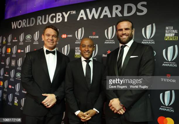 John Smit George Gregan and Jamie Roberts of Wales attend the World Rugby via Getty Images Awards 2018 at the MonteCarlo Sporting Club on November 25...
