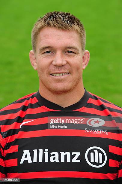 John Smit of Saracens poses for a portrait during a Saracens photocall at the Saracens Training Centre on August 21 2012 in St Albans England