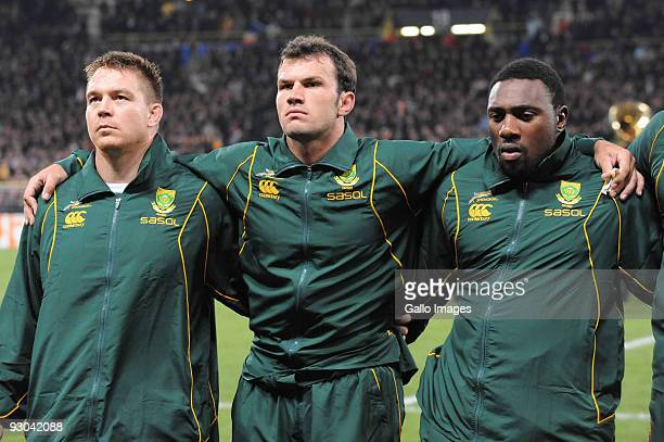 John Smit of South Africa Bismark du Plessis and Tendai Mtawarira during the International match between France and South Africa at Toulouse Stadium...
