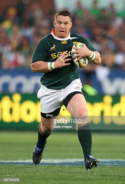 John Smit of South Africa in action during the Tri Nations match between South Africa and Australia at Loftus Versfeld Stadium on August 28 2010 in...