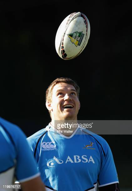 John Smit of the Springboks during a South Africa Springboks training session at Porirua Park on July 28 2011 in Wellington New Zealand