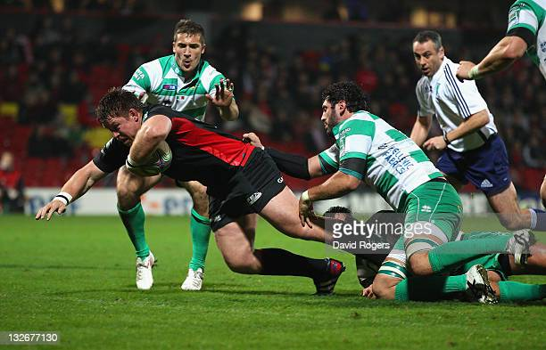 John Smit on his Saracens debut dives over to score the fourth Saracens try during the Heineken Cup match between Saracens and Benetton Treviso at...