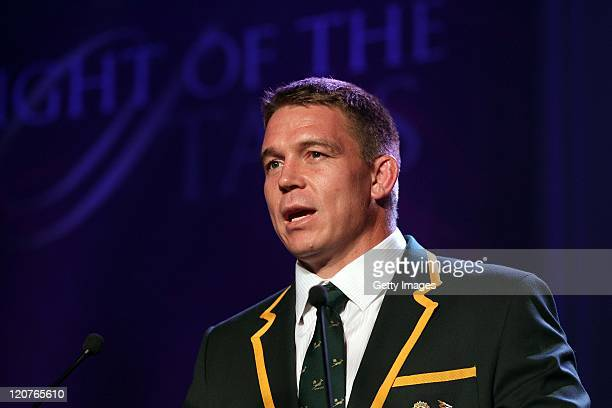 John Smit speaks during the Bell's Night of the Stars Rugby Extravaganza at the International Convention Center on August 9 2011 in Durban South...
